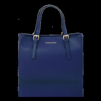 イタリア製AURA ルーガ・カーフレザーの2WAYハンドバッグ、ダークブルー、ブルー、青